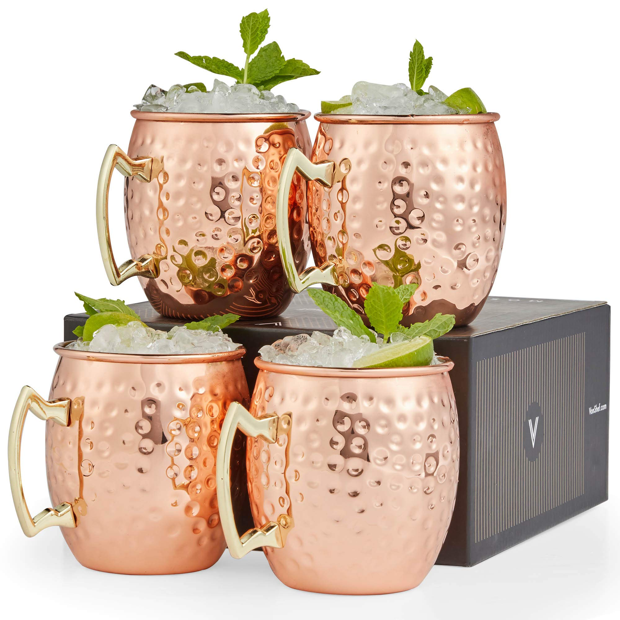 VonShef Moscow Mule Copper Mugs Set of 4 Hammered Effect Barrel Style 16oz Glasses With Gift Box by VonShef