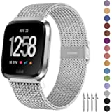 Fitlink Metal Bands Compatible for Fitbit Versa/Versa Lite Edition/Versa 2 Smart Watch for Women and Men,Small and Large, Mul