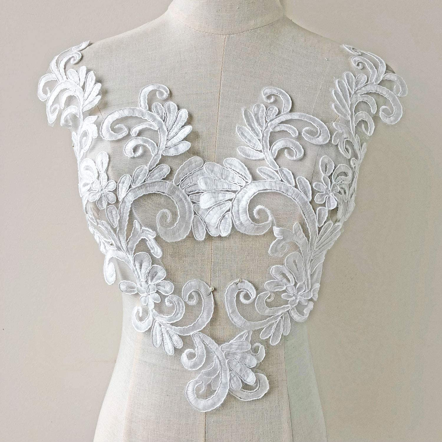 2Pcs Floral Embroidered Lace Fabric Applique Guipure Wedding Dress Sewing Patch