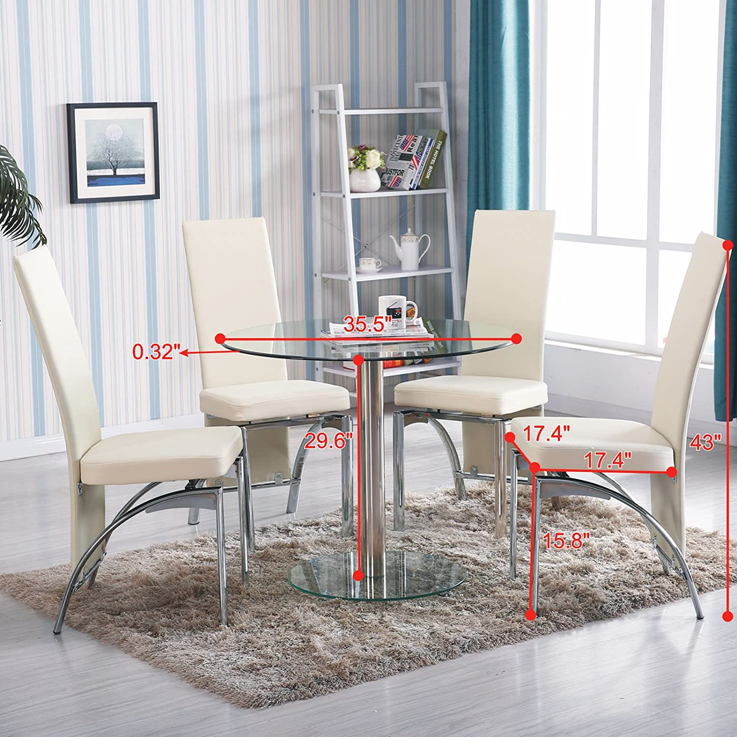 Amazon.com: Mecor 5 PC Round Glass Dining Table Set With 4 Chairs Kitchen  Furniture: Kitchen U0026 Dining