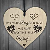 Red Ocean Its The Dogs House Novelty Wooden Hanging Heart Plaque Dog Lovers Home Sign Gift