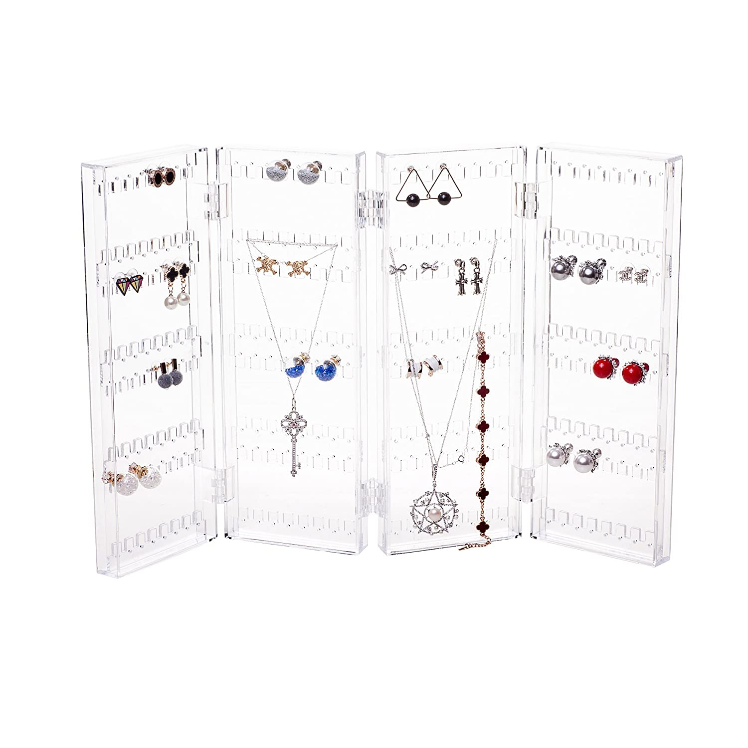 Foldable 4-Panel Jewelry Screen Hanger Organizer Earrings Necklace Chains Display Stands Choice Fun Transparent QFJJSN-WX-81003