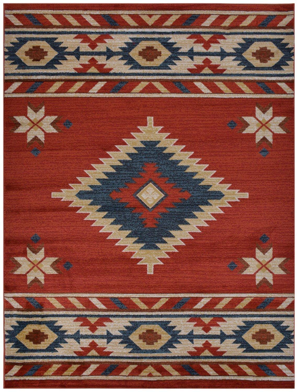 Nevita Collection Southwestern Native American Design Area Rug Southwest Design Rugs Geometric South West Pattern (Orange (Terra) , 2 x 4)