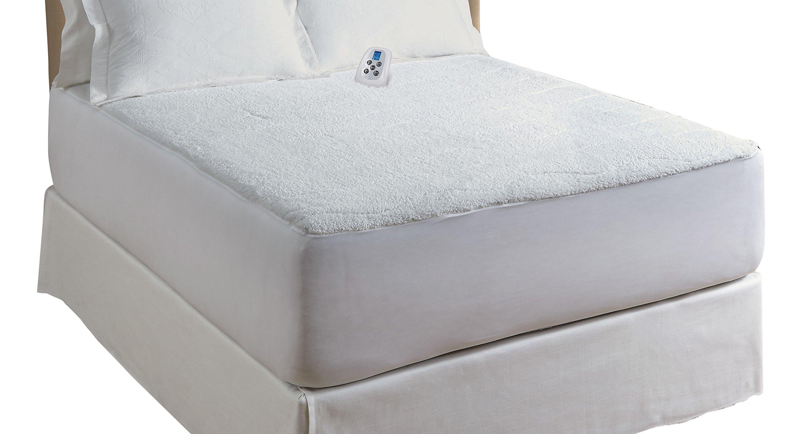 Serta Sherpa Plush Electric Heated Mattress Pad with Programmable Digital Controller, King Size, White
