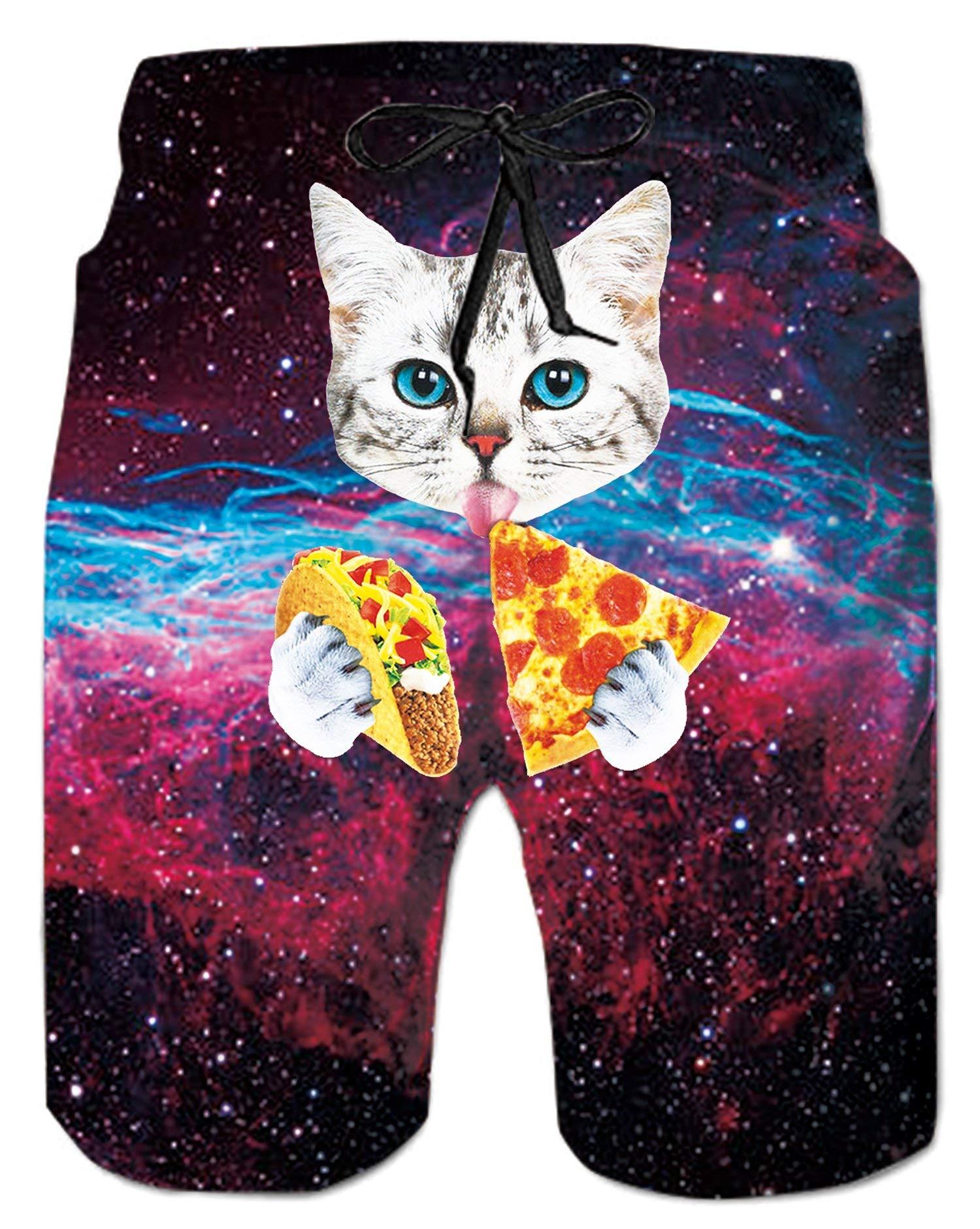 a439b8f5a7 Alistyle Cartoon Pizza Cat Print Funny Swim Board Shorts for Mens Boys
