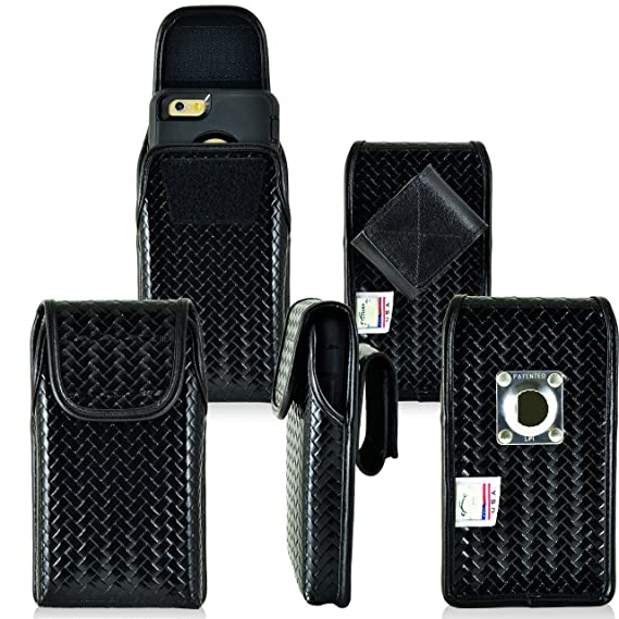 new product 8a245 2c0d8 Law Enforcement Rugged Police Basketweave Genuine Leather Vertical Duty  Belt Case with Hook and Loop Closure fits iPhone 8 Plus