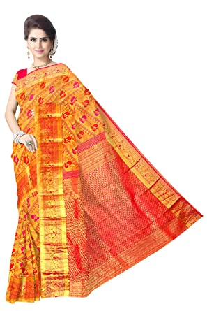 9c244fd20524f8 Amazon.com  Golden pink tissue contrast peacock brocade handloom pure silk  saree  Clothing