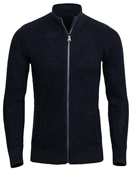 Canalside Mens Merino Wool Zip Up Cardigan Sweater With Pockets At