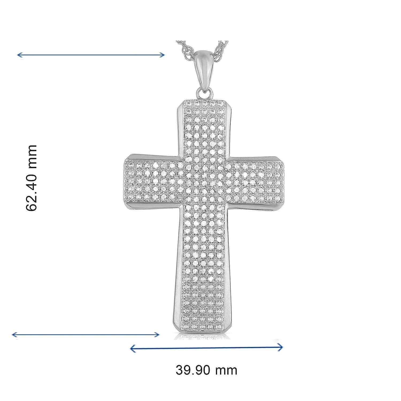 NATALIA DRAKE 2cttw Genuine Diamond White Cross Pendant in Rhodium Over Brass