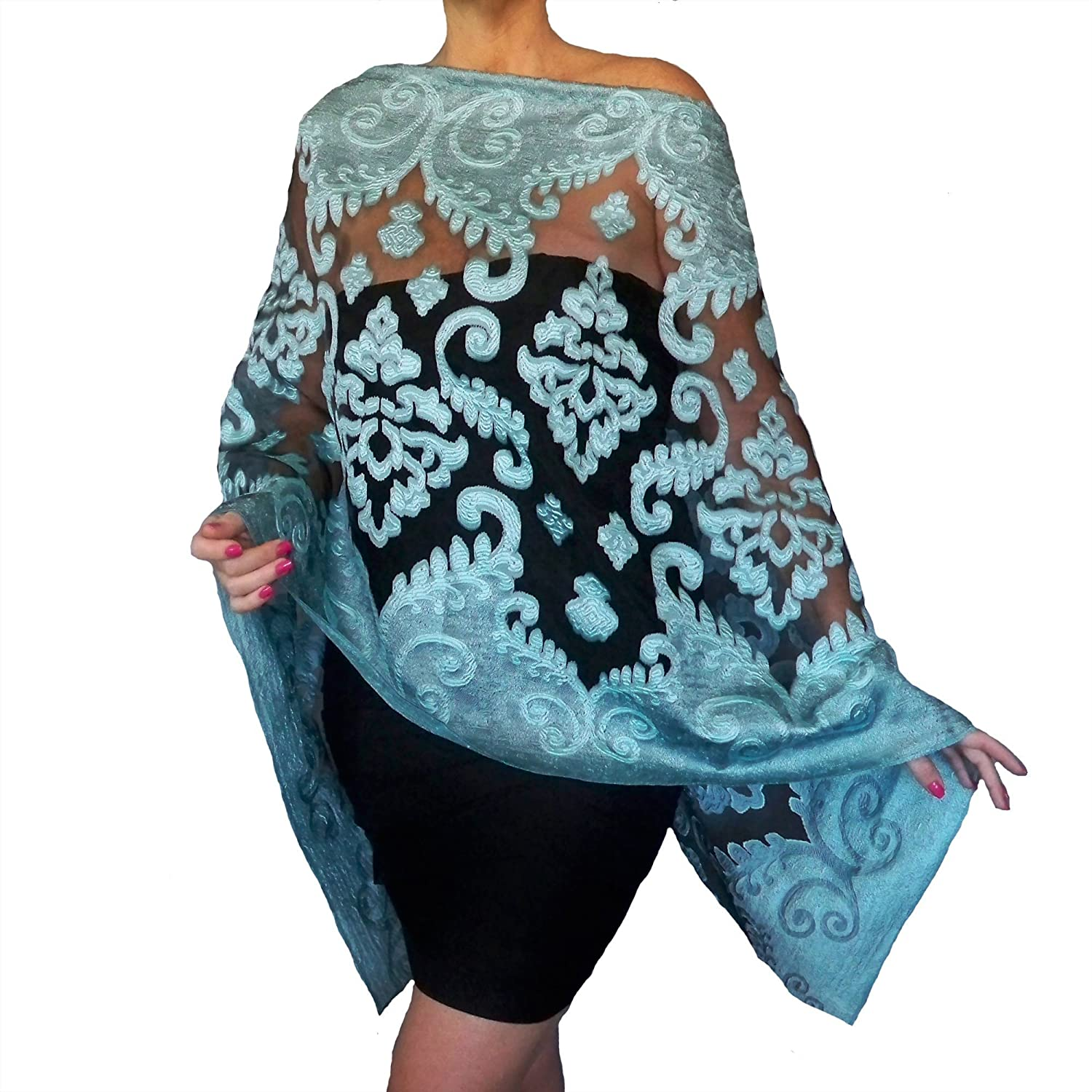 Light Blue Evening Wrap Aqua Shawl Black Organza Wedding Stole By ZiiCi