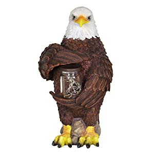 "Exhart Solar Bald Eagle Statue with LED Firefly Lights Glass Jar - Eagle Resin Garden Statue Holding a Mason Jar w/Firefly String Lights – Eagle Decor for Garden, Yard, Patio, 7"" L x 6"" W x 11"" H"