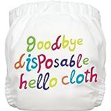 Charlie Banana Diaper Plus 2 Inserts, White Hello Cloth