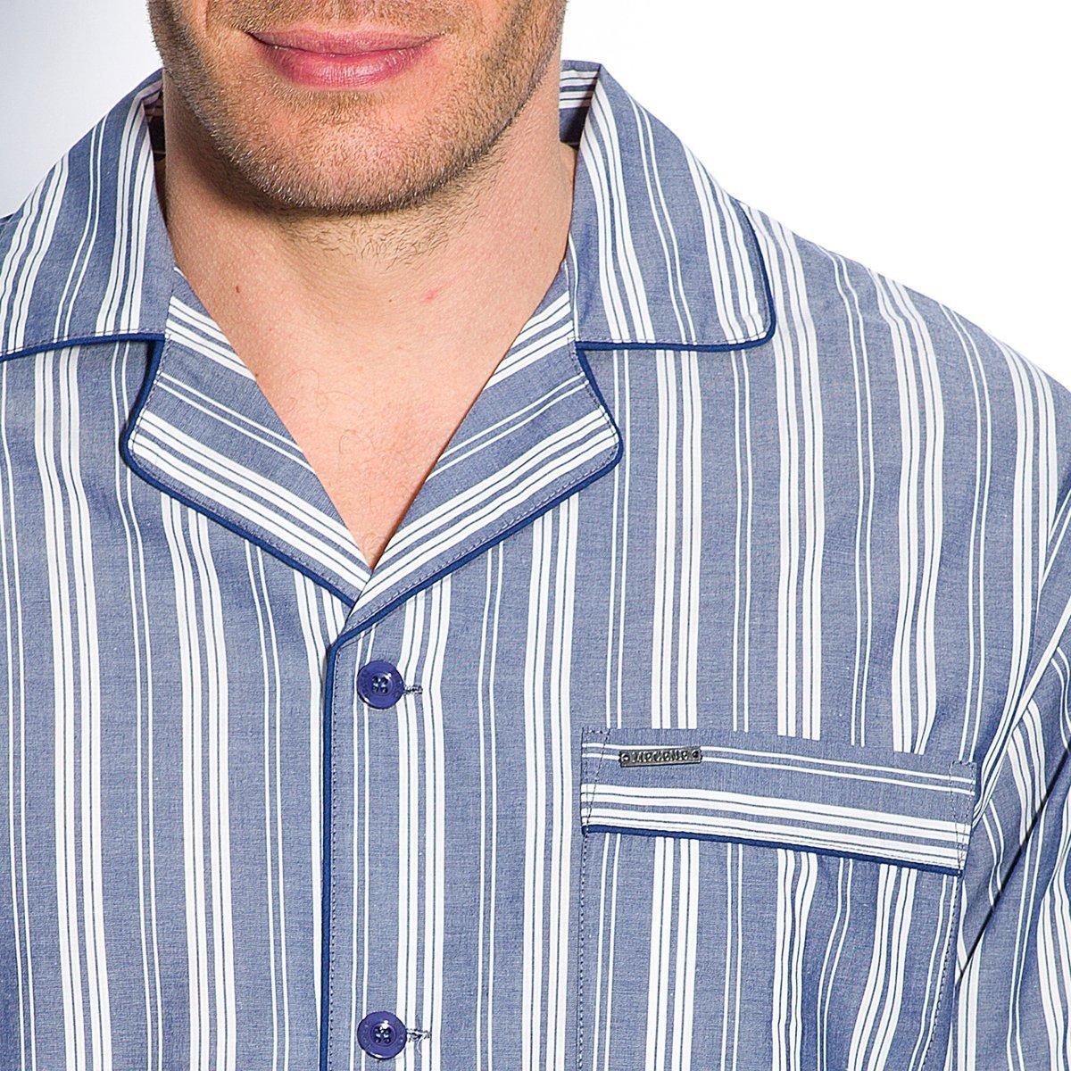 De mujer para Mecene popelín Pure de cama de algodón a rayas pijama de seguridad para anclaje en-de camiseta de manga: Amazon.es: Ropa y accesorios