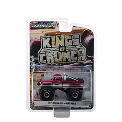 1975 Ford F-250 King Kong Monster Truck Red with White Stripes Kings of Crunch Series 1/64 Diecast Model Car by Greenlight 49010 C: Toys & Games