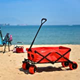 Ollieroo Outdoor Utility Wagon Folding Collapsible Garden Beach Snow Shopping Cart With 7''x4'' Thick Rubber Wheels 150 Pound Capacity Red