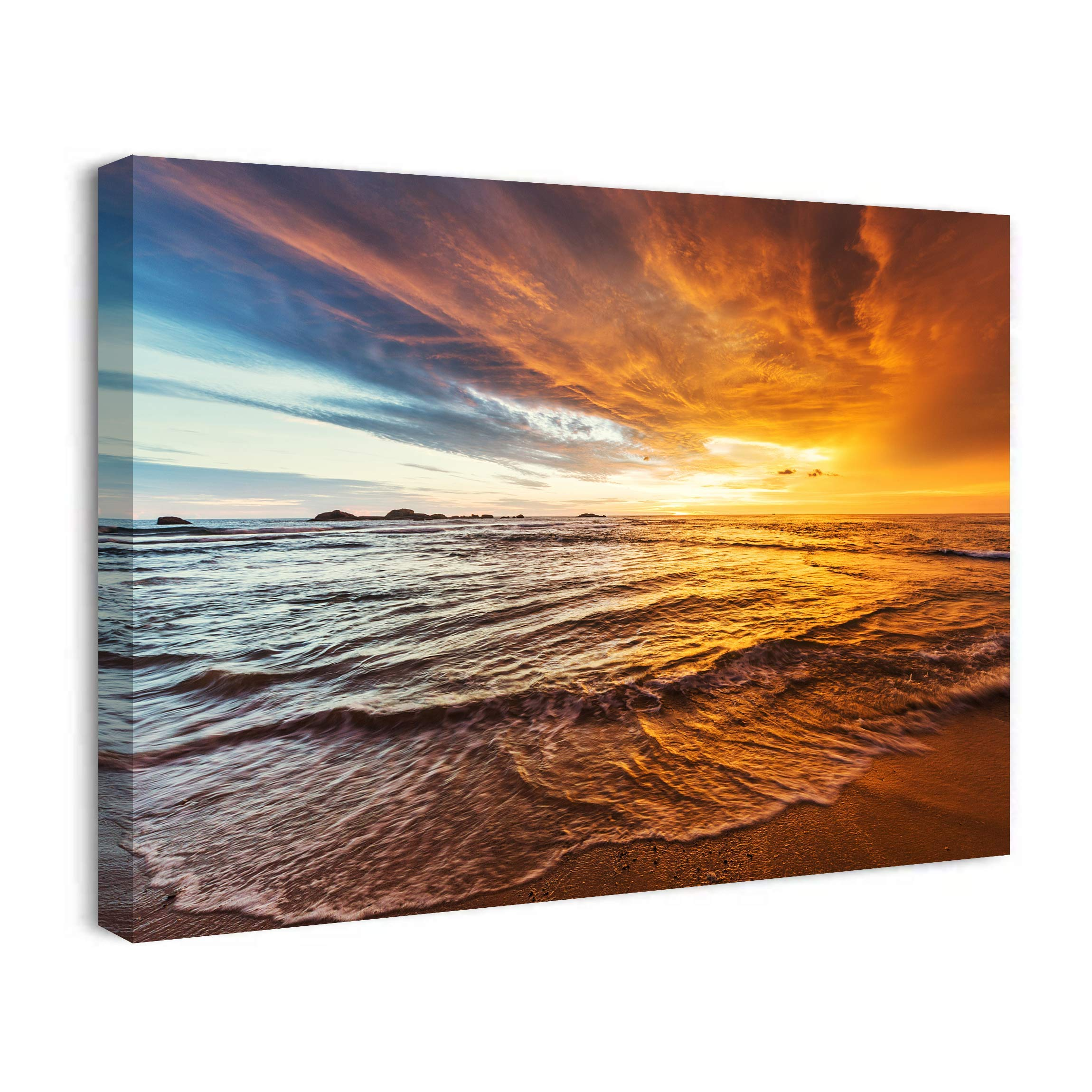 SEVLITTT Sunset Ocean Beach Paintings for Living Room Bedroom Blue Sea On