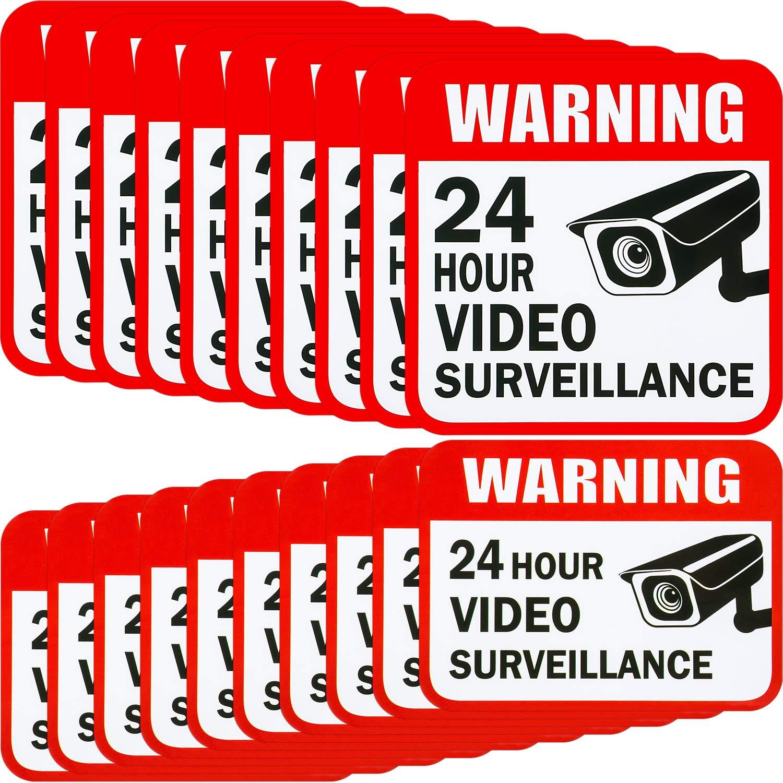 20 pegatinas de vigilancia de ví deo, 2 tamañ os para el hogar o la casa, sistema de alarma, 5 x 5 pulgadas y 3 x 4 pulgadas adhesivas 24 horas señ ales de advertencia de seguridad 2 tamaños para el hogar o la casa Tatuo