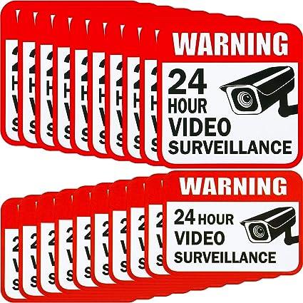 20 Piezas de Pegatina de Videovigilancia Adorno de Señal de 2 Tamaños para Pegatina de Sistema de Alarma de Cámara, 5 x 5 Pulgadas y 3 x 4 Pulgadas ...