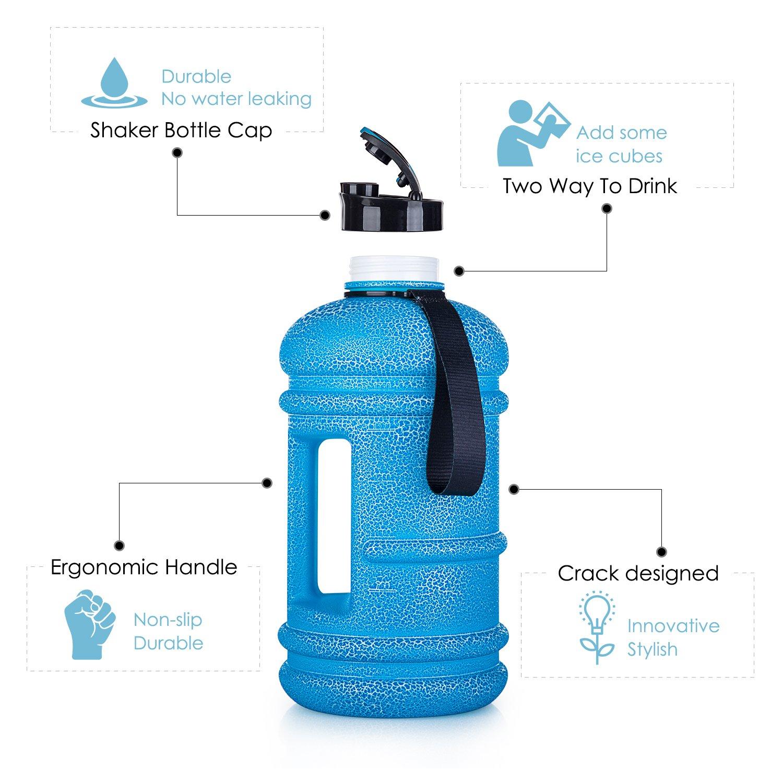 Botella de agua de plástico sin BPA de 2,2 litros, con medidas: para gimnasio, culturismo, pérdida de peso, actividades al aire libre, viajes, camping, ...