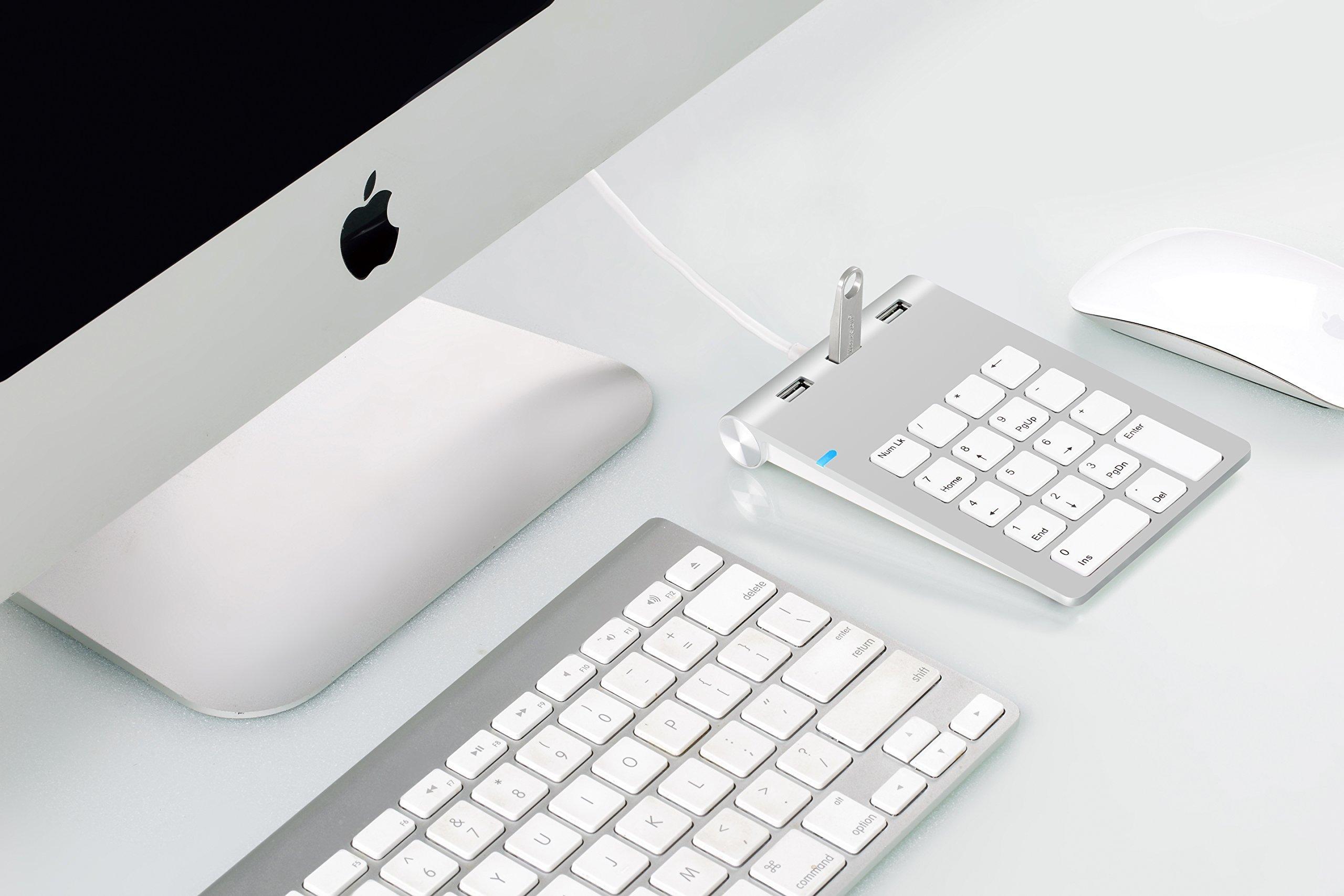 Cateck Aluminum Finish USB Numeric Keypad with USB Hub Combo for iMac, MacBooks, PCs and Laptops