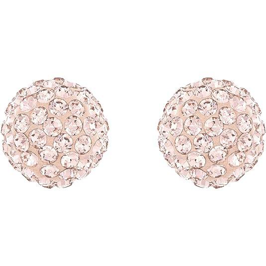 Swarovski Women's Rose Gold Plating Blow Pierced Crystals Earrings, Pink