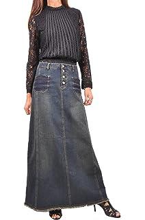 01a9b81d61 Style J Bonita Blue Flares Long Jean Skirt at Amazon Women's ...