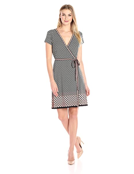 4615701e0a430 Lark & Ro Women's Short Sleeve Wrap Dress: Amazon.ca: Clothing ...