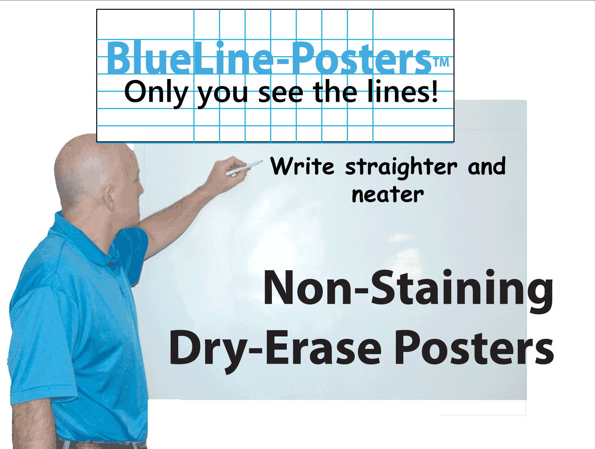 Blueline Dry-Erase Poster Type Super Large 38 in. Tall X 75 in. Long by PlanetSafe Planners & Calendars