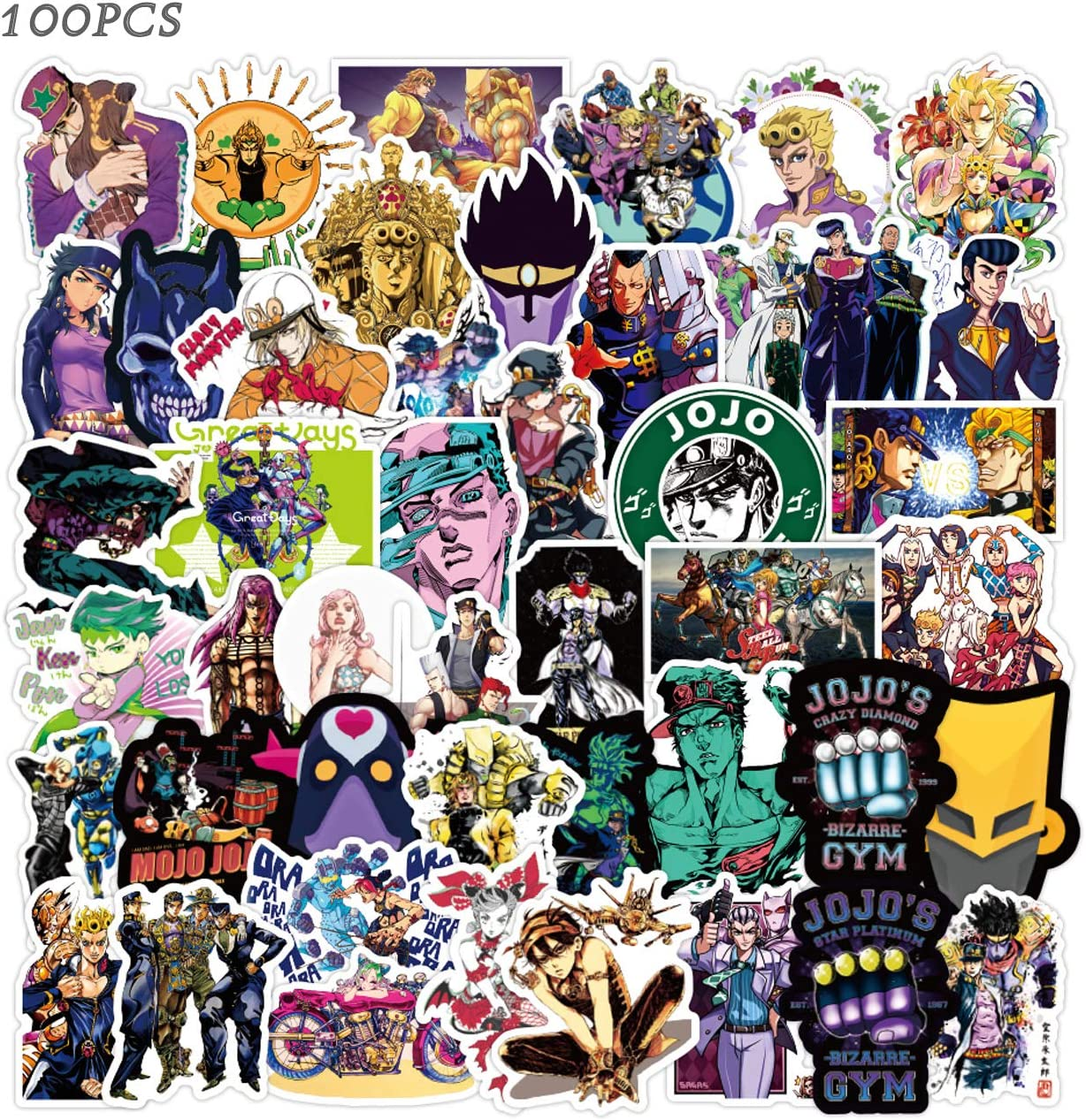 Jojos Bizarre Adventure Stickers 100PCS Cool Anime Stickers Vinyl Waterproof Stickers for Kids Teens Adults Laptop Water Bottles Skateboard Guitar