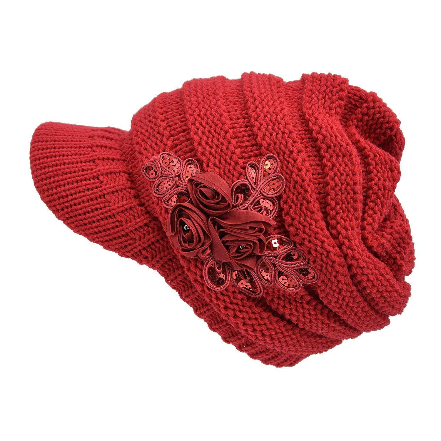db3a6181735 YSense Women Winter Warm Cable Knit Beanie Hats Newsboy Cap Visor with  Sequined Flower 001-