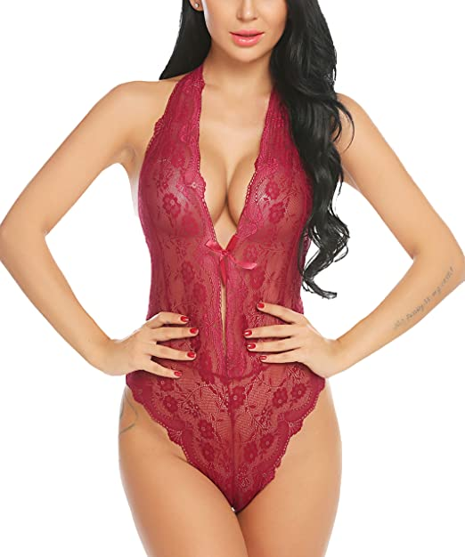 4f25261d2 ADOME Women One Piece Lingerie Lace Teddy V Neck Bodysuits Halter Babydoll,  Style 1-