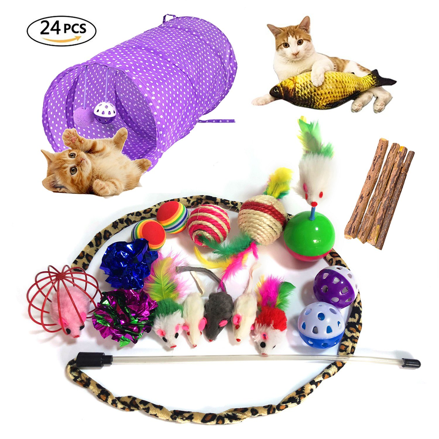 NLSD 24PCS Cat Toys Kitten Toys Assortments,Variety Pack for Catnip Toy, Cat Tunnel, Bell Crinkle Balls, Feather Wand, Cat Teaser Toy, Cat Toys Set for Cat, Puppy, Kitty, Kitten