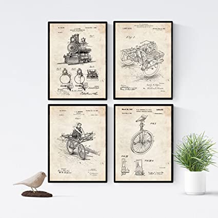 Amazon.com: Nacnic Vintage - Pack of 4 Sheets PATENTS ...