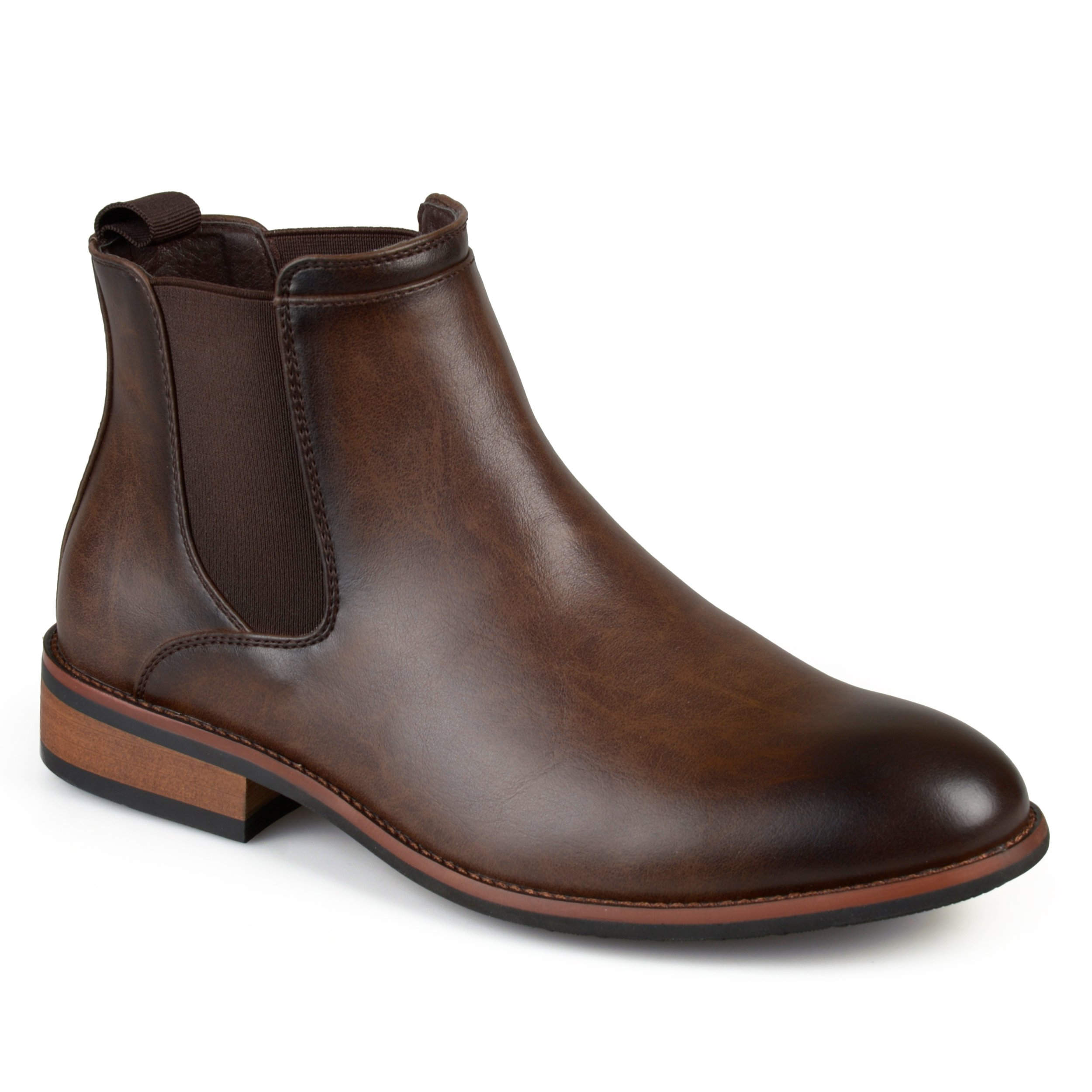 Vance Co. Mens Faux Leather High Top Round Toe Chelsea Dress Boots Brown, 12 Regular US