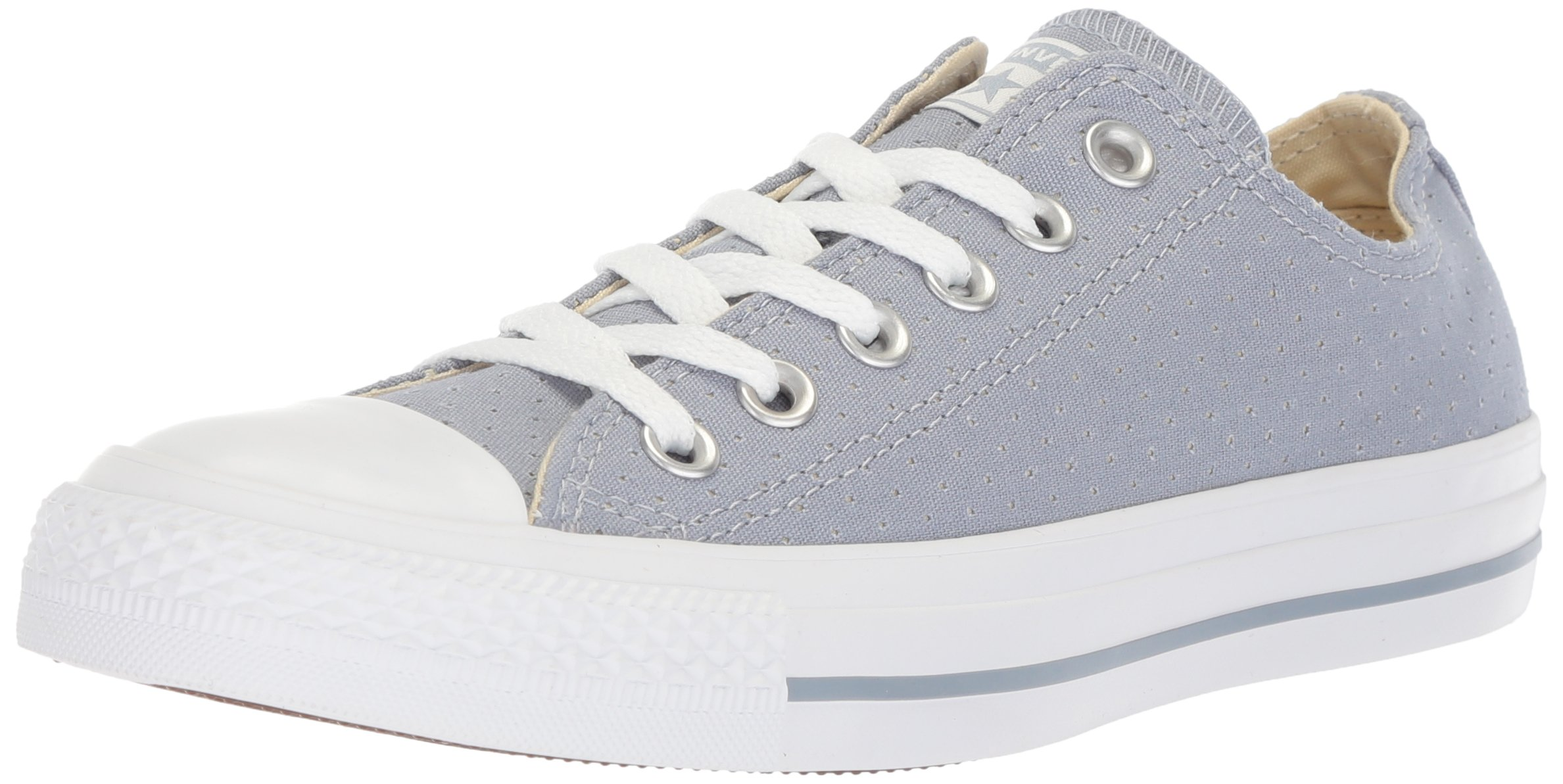 Converse Women's Chuck Taylor All Star Perforated Canvas Low Top Sneaker, Glacier Grey/White/White, 8.5 M US