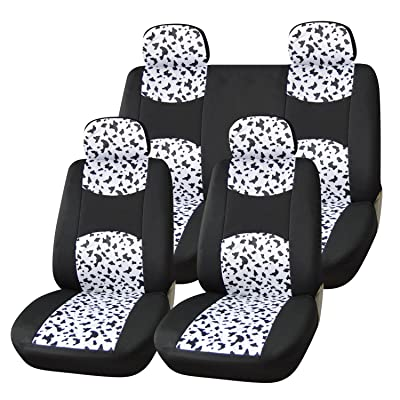 Adeco CV0211 Car Vehicle Seat Covers, Universal Fit, Black/Dalmatian Print: Automotive