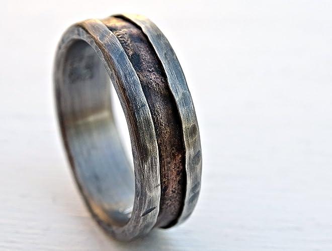 Mens Unique Wedding Bands.Amazon Com Cool Mens Ring Bronze Unique Wedding Band