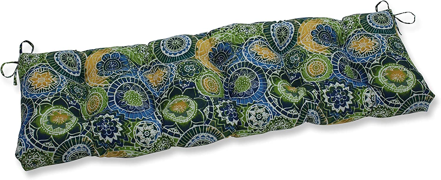 """Pillow Perfect Outdoor/Indoor Omnia Lagoon Tufted Bench/Swing Cushion, 60"""" x 18"""", Blue"""
