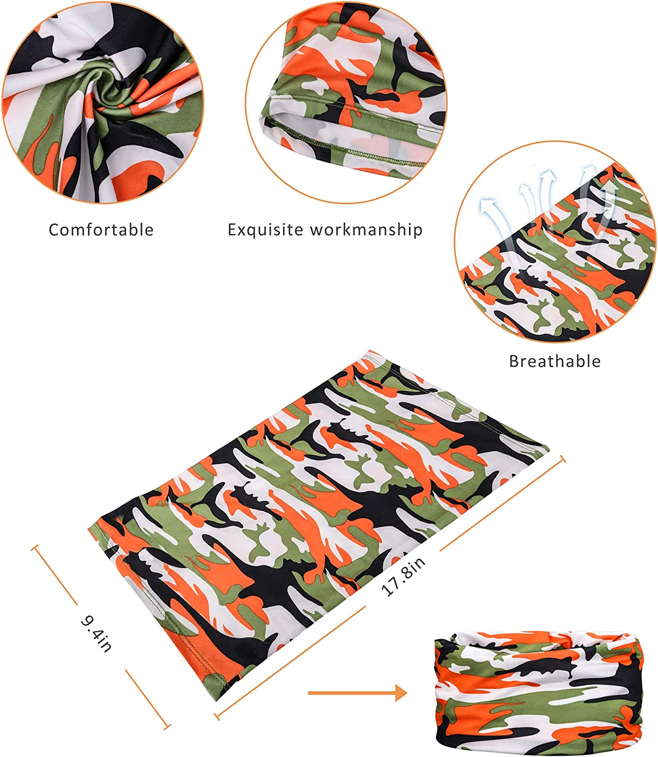 Reusable Breathable Bandana Balaclava 4 Pack Headband Fishing Mask Yemo Unisex Sun UV Protection Cooling Face Scarf Cover Mask Neck Gaiter Motorcycle Face Cover for Men Women