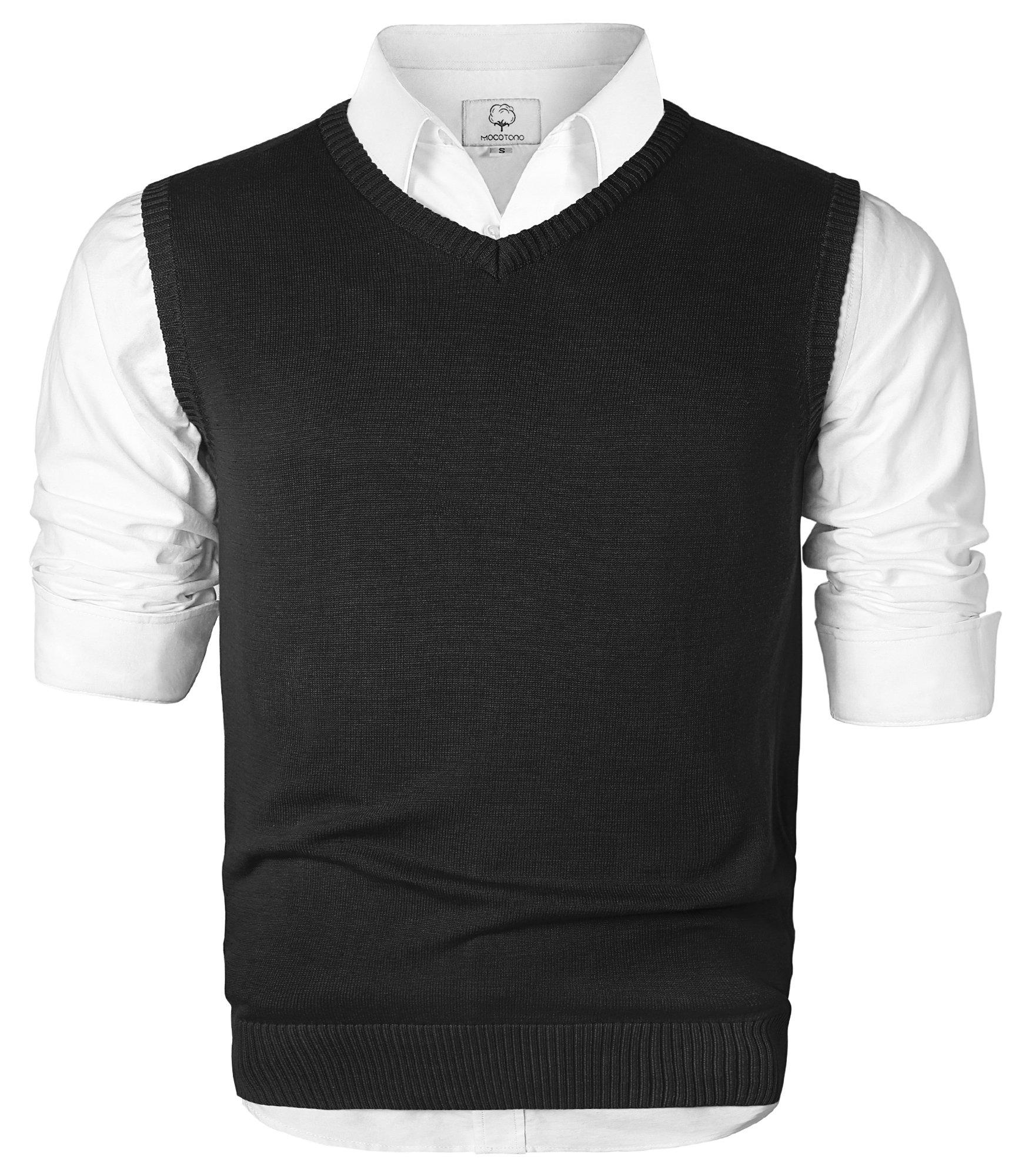 MOCOTONO Men's V-Neck Cotton Sleeveless Sweater Casual Vest Black Medium