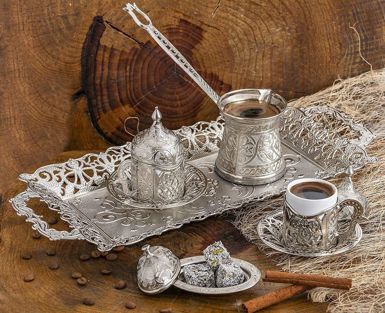 Ottoman Arabic Gift Set Silver Design Turkish Greek Arab Coffee Espresso Set for Serving Porcelain Cups With Large Tray Saucers Pot Sugar Bowl Vintage Silver Engraved Embroidered Design