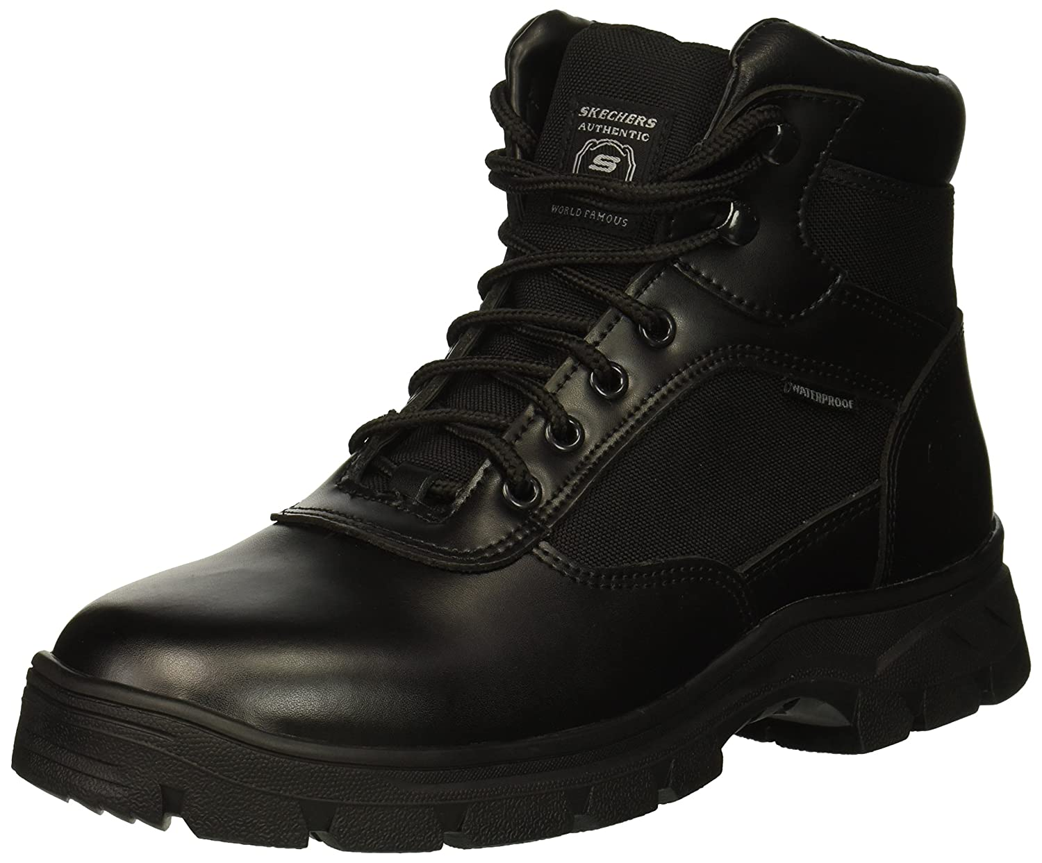 Skechers Men's Wascana Industrial Boot, Black Leather