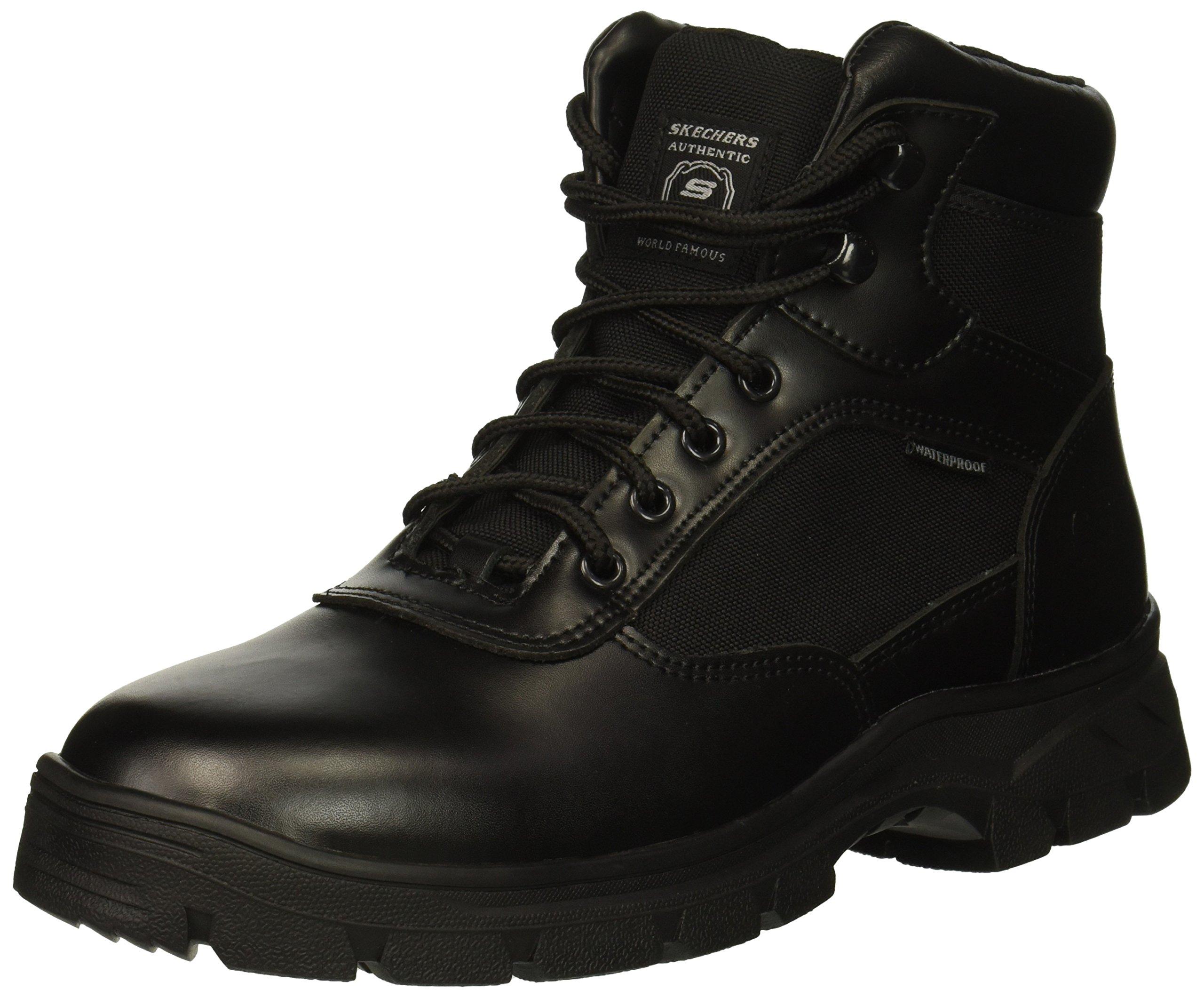 Skechers Men's Wascana Industrial Boot, Black Leather Textile, 11 M US