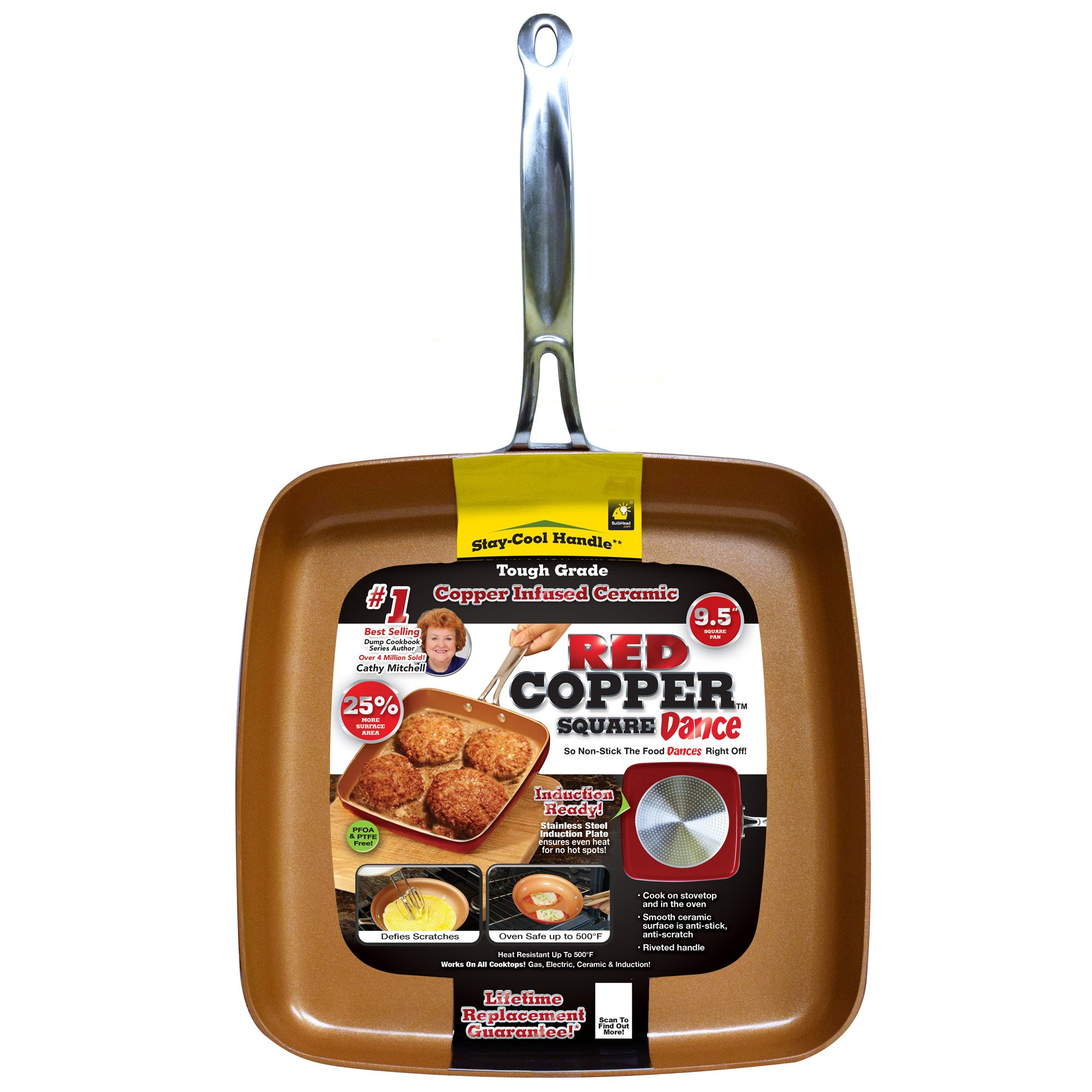 Red Copper 9.5-Inch Square Dance Pan by BulbHead