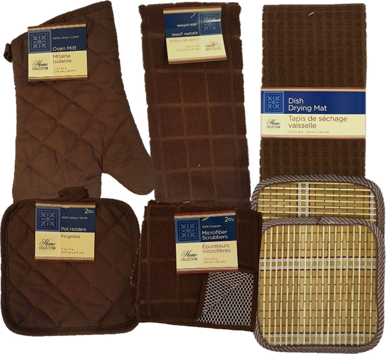 Kitchen Linens Bundle of 8 Items - Matching Kitchen Towel, Oven Mitt, Pot Holders,Dish Cloths, Dish Drying Mat and Bonus Bamboo Hot Pads (Brown)