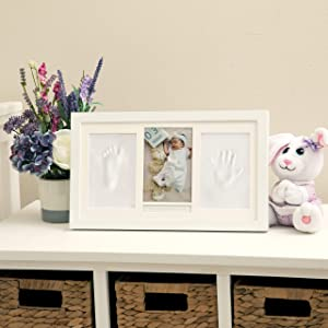 Nuby Baby Hand & Footprint Kit with Wall Decor Frame That Holds One 4 x 6 Photo & 2 Clay Print Kits for Newborn Girls & Boys, Personalized Baby Gift