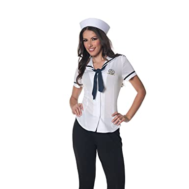 Amazon.com: Underwraps Women's Sailor Fitted Shirt, White/Navy ...