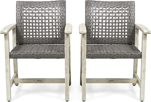 Eartha Outdoor Acacia Wood and Wicker Dining Chair Set of 2