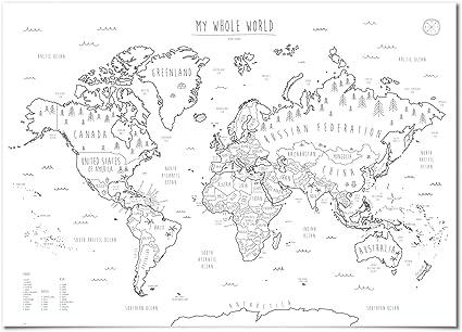 Poster A Colorier En Gras Mardi Avec Noms De Pays Carte Du Monde Pour Enfants Motif