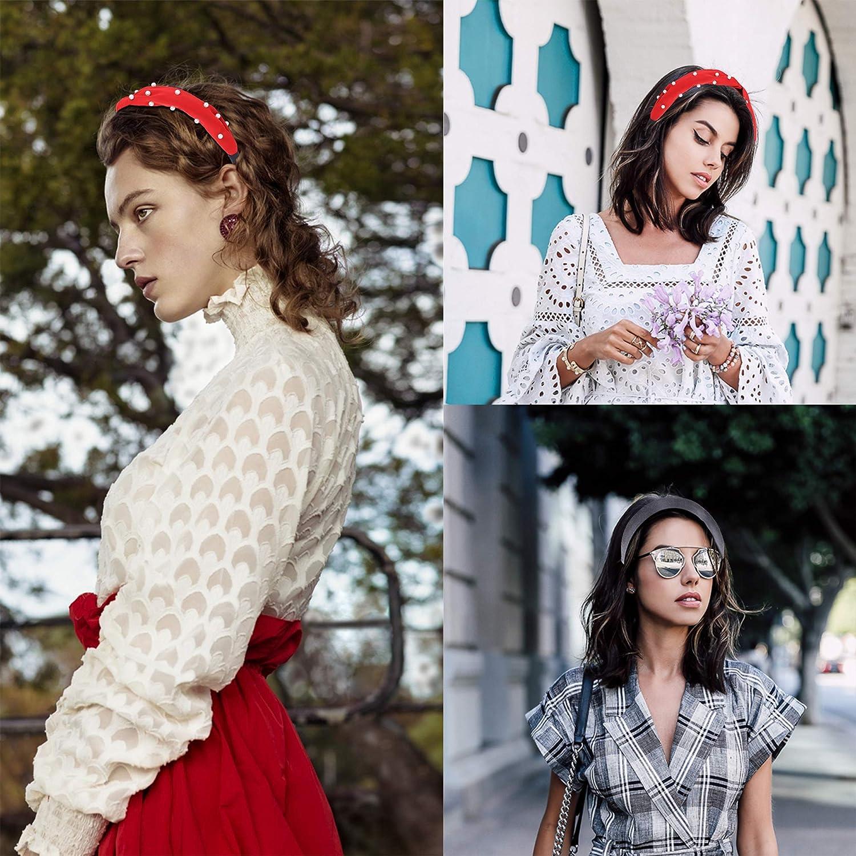 Adramata 6 Bandeaux en Velours pour Femme Bandeaux de Cheveux Tress/é Troupeau Rembourr/é Bandeau Style Vintage Bande Large /à La Mode